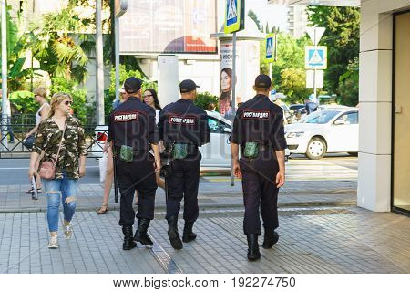 Sochi Krasnodar Krai Russia - June 09.2017: a Police patrol is on a city street on a summer day. Patch