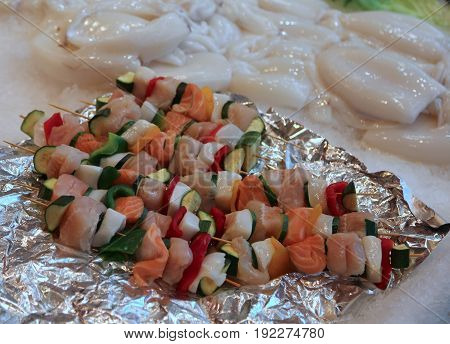 Raw Fish Kebabs And Vegetables For Sale