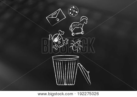 Computer Threats Icons Going Into The Bin