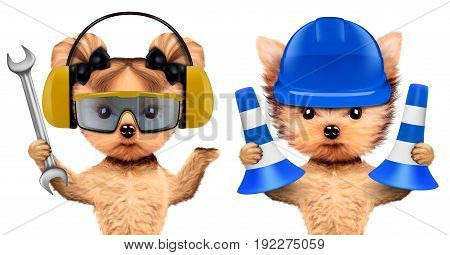 Funny dogs with wrench and cones isolated on white background. Constructor and handyman concept. 3D illustration