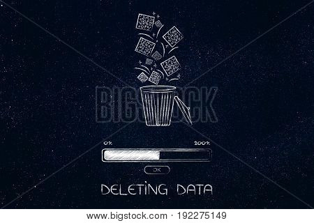 Digital Data Falling Into A Bin And Getting Deleted With Progress Bar