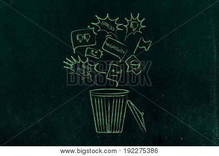 overcoming negativity concept: unhappiness and stress related icons falling into a bin