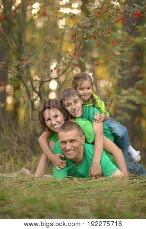 Portrait of a big happy family having fun outdoors