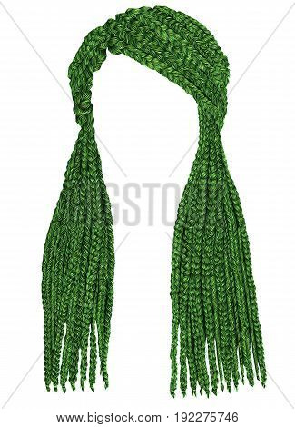 trendy  long hair cornrows green colour. realistic graphics. fashion beauty style.