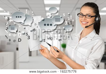 Female young center call worker young adult with speech bubbles and office background