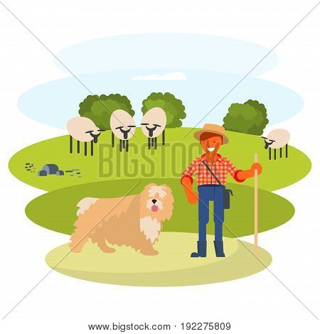 Young man cattleman with his Shepherd dog graze sheep in pasture. Flat Cartoon Character of pet and his owner. Colorful Vector Illustration eps 10