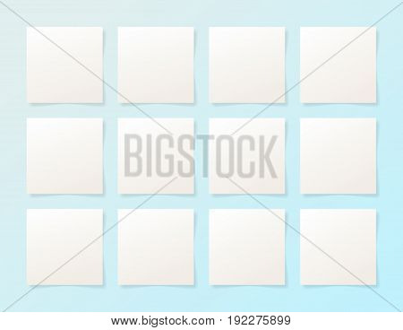 12 pieces blank sheet of white paper with the shadow for your design, vector illustration