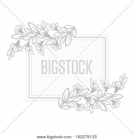 Decorative frame template with stylized spring flowers.
