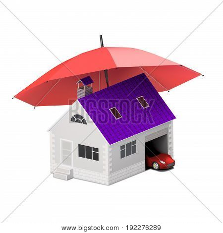 Home house life car protection. Buying house and car for family icon. Protect people Concepts. 3D illustration. Icon for the web site of the bank. Red car under red umbrella.