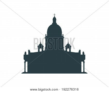 Silhouette of the Saint Isaac's Cathedral in Saint Petersburg Russia. Modern minimalist icon.