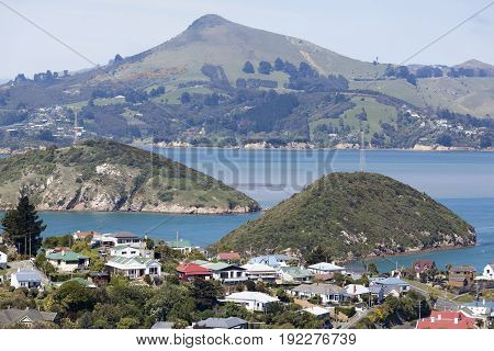 Houses and surrounding area of Port Chalmers the suburb of Dunedin city (New Zealand).