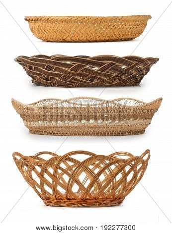 Set Of Wicker Baskets, Breadbaskets, Bread-plates, Dishes For Food Or Fruits Isolated On A White Bac
