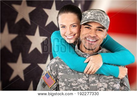 Smiling wife soldier residential structure heterosexual couple armed forces army soldier