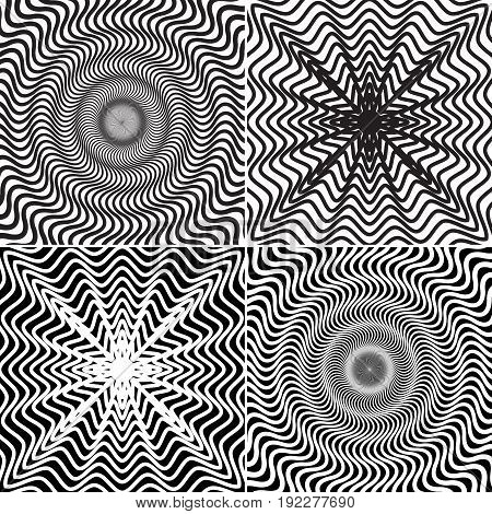 Vector set of four abstract patterns. Optical illusion backgrounds.