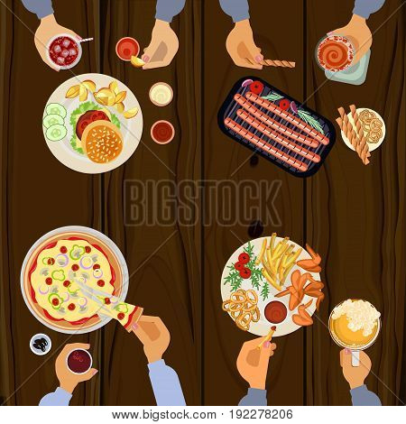 Persons is eating lunch with hamburger, grilled wings, sausages, pizza and beer on wooden table. Top view Vector illustration eps 10