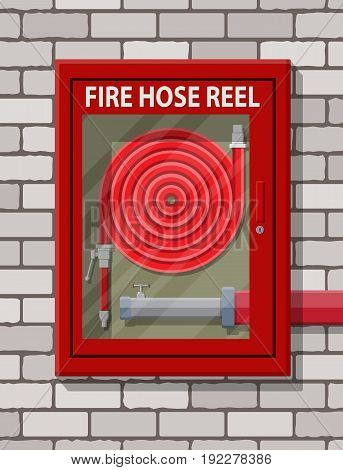 Water hose to extinguish the fire in cabinet at brick wall. Fire equipment. Vector illustration in flat style