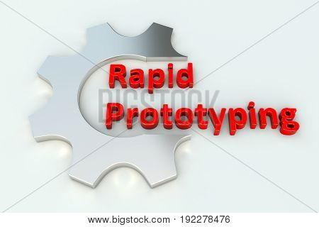 Rapid prototyping gear wheal white background 3d illustration