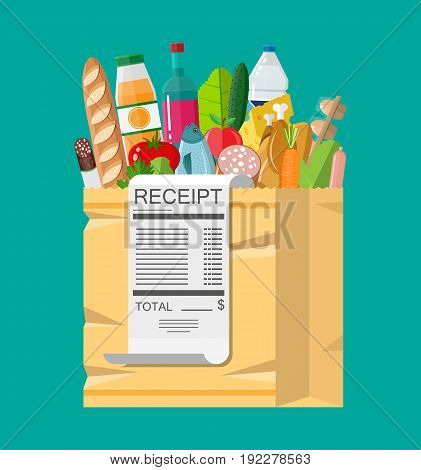 Shopping bag full of groceries products and receipt. Grocery store. Supermarket. Fresh organic food and drinks. Vector illustration in flat style