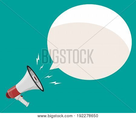 Loudspeaker or megaphone and speech balloon. Announcement element. Vector illustration in flat style