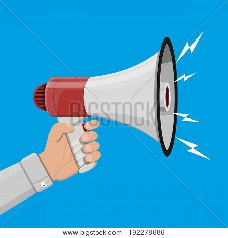 Loudspeaker or megaphone in hand. Announcement element. Vector illustration in flat style