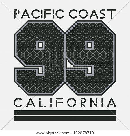 California T-shirt fashion printing sport badge number