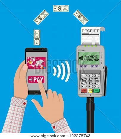 Pos terminal confirms the payment by smartphone. Nfc payments concept. Vector illustration in flat design