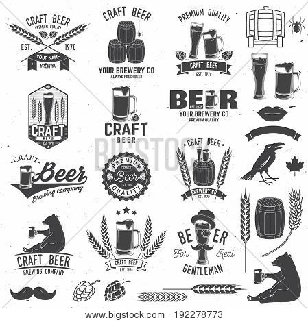 Set of Craft Beer badges with with design elements. Vector illustration. Vintage design for bar, pub and restaurant business. Coaster for beer.