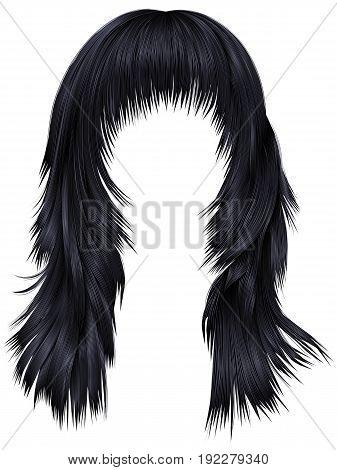 trendy woman long hairs brunette black  colors .  beauty fashion .  realistic 3d