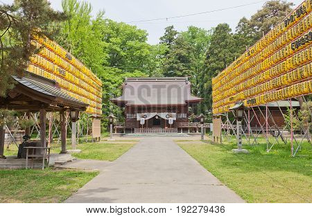 HIROSAKI JAPAN - MAY 23 2017: Gokoku Shinto Shrine in Hirosaki Castle Japan. Shrine was founded in 1870 by Tsugaru Tsuguakira the 12th and final lord of Hirosaki Domain