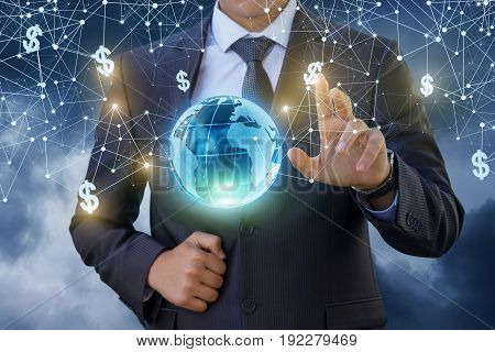 The Businessman Clicks On The Dollar Sign In The Network