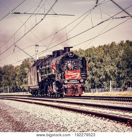Moscow Russia - August 02 2014: Steam locomotive moves in Cherbinka.