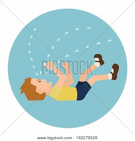 toddler crying histrically  on the floor - funny  vector cartoon illustration