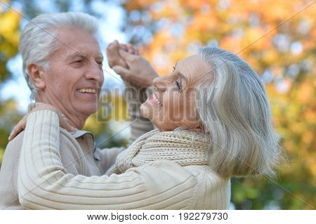 portrait of beautiful senior couple  dancing  in the park