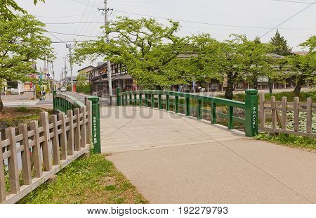 HIROSAKI JAPAN - MAY 23 2017: Kamenoko-bashi Bridge of Hirosaki Castle Japan. Castle was erected by Tsugaru Nobuhira in 1611 designated National Historic Site in 1952