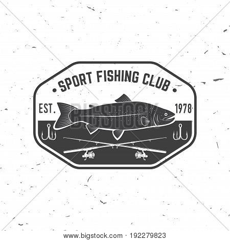 Fishing sport club. Vector illustration. Concept for shirt or logo, print, stamp or tee. Vintage typography design with fish rod and rainbow trout silhouette.