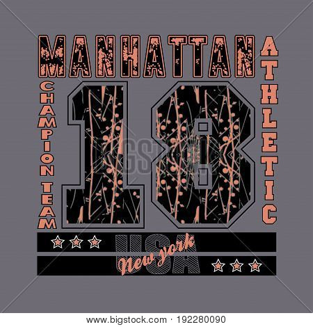manhattan new york athletic fashion Typography sport emblem design Number with floral ornament graphic Print label