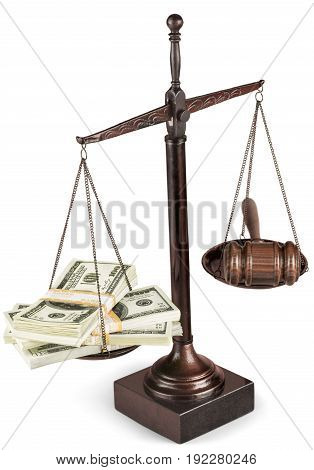Money justice scales background isolated closeup