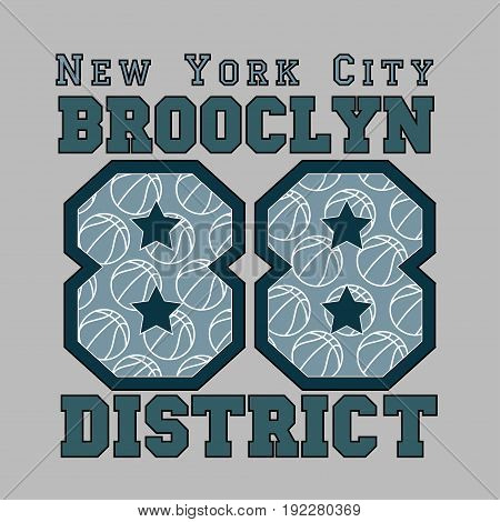 New York basketball fashion Typography sport emblem design Number with floral ornament graphic Print label