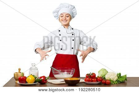 Beautiful cooking woman chef happy person