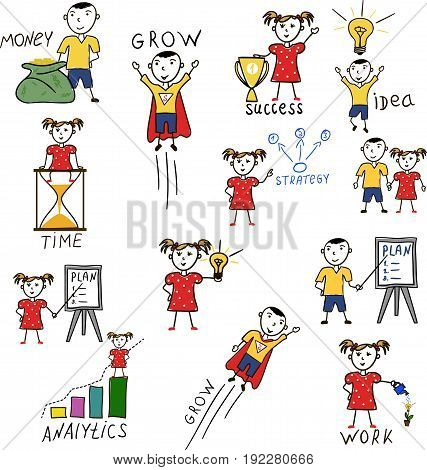 Business kids hand drawing characters. Idea generation, business planning and analytics, financial grow, time management vector illustrations with happy children. Boy and girl financial education.