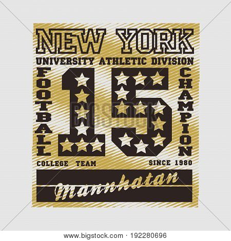 manhattan new york football champion athletic fashion Typography sport emblem design Number with floral ornament graphic Print label