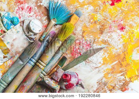 Dirty paint and paint brushes leisure objects