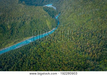 Beautiful landscape and turquoise river, in South Westland's Southern Alps, New Zealand.