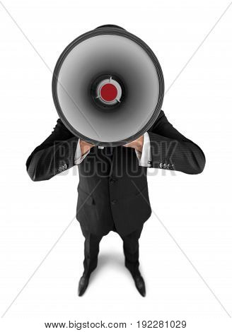 Businessman talking through megaphone obscured face