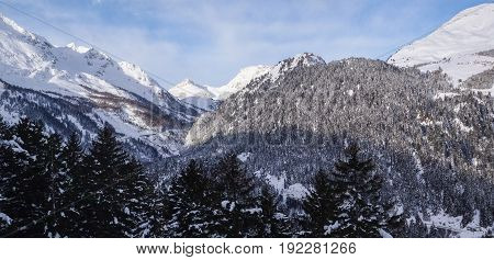 Val Blenio. View Of The Mountains Towards The Lucamagno