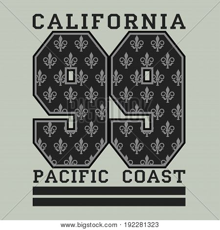 Los Angeles CA pacific coast fashion Typography sport emblem design Number with floral ornament graphic Print label