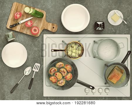 Stone countertop with gas hobs and products. Delicious eating concept with pies fish and fresh vegetables. Top view. 3D illustration
