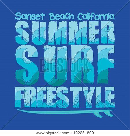 surfing sunset Beach California surfing T-shirt inscription typography graphic design