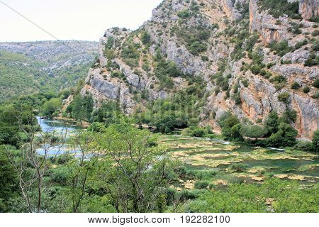 Krka national park near the waterfalls Roski slab in Croatia