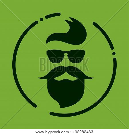 Monochrome hipster with beard, glasses, haircut, mustaches. Silhouette, avatar, label, logo emblem on a green background Vector illustration